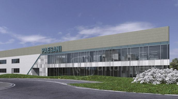 Rendering del nuovo stabilimento Paesani a Santarcangelo